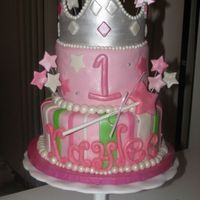Princess Kaylee's First Birthday Cake A replication of a cake from pinkcakebox.com. Love them and have also noticed that many of my customers come to me with cakes from them....