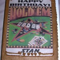 Texas Hold 'em Edible Image  This is my brother's birthday cake in 2006. This shows a multi-colored edible image on light chocolate icing, even the white parts...