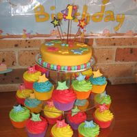Bright Birthday Cake I had a lot of fun creating this bright birthday cake for my nephews first birthday. The cutting cake is caramel mud and the cupcakes are...