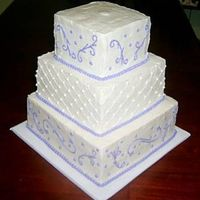 3-Tier White And Lilac Wedding Cake