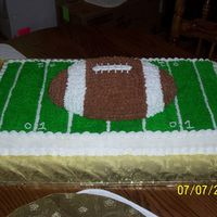 Football Field Cake   This cake went along with a chocolate football cake for my nephew's first birthday. It is a white/almond with buttercream icing.