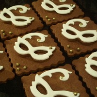 Mask Cookies Chocolate Coffee Liqueur Cookes. Used a mask cookie cutter to make cookie and fondant mask. Put the mask onto a square cookie so there...