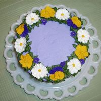 Spring Flowers Top view of a cake I made for my women's Bible study potluck. Wanted to try a purple cake - so I made royal icing pansies, violets,...