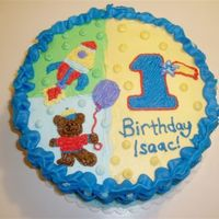 First Birthday Cake My son's first birthday cake - copied the Hugs and Stitches plates and napkins much like other parents on CakeCentral! I did a dark...