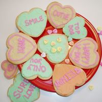 Heart Cookies Conversation heart cookies for Valentine's Day. My three year old son did the cookie in the middle - picking out only the yellow...