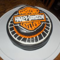 Harley Cake   For fathers day. The harley seal is royal icing.