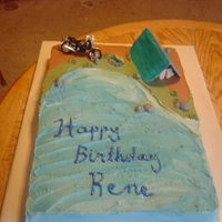 Camping Cake This cake was created for an 80th birthday. His interests were camping,Motorcycling, and Fishing. I thought I'd incorporate them all...