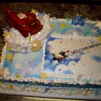 Teddy Bear And Airplane Baby Shower WASC with Editable image, Air- Brushed topped with a gum paste Teddy Bear Stars and Airplane, topped with Editable glitter.