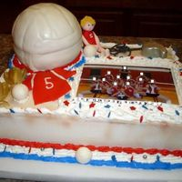 Volleyball Two layer half sheet cake is WASC, Volleyball that tops the cake is pound cake covered with MMF all figures are fondant except trophies and...