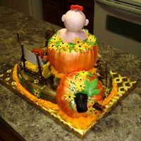 Back View Of The Pumpkin Patch 1St Birthday Cake