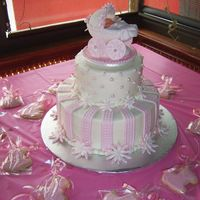 Pink Shower Cake Buttercream cake with fondant accents. Carriage is molded sugar, with gumpaste wheels. Baby is gumpaste, with gelatin wings.