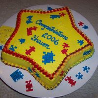 "Shawn's Pre-K Puzzle Cake Was going to be an edible image, but coudn't get my printer to work, so plan ""B"". Puzzle pieces are fondant cut from..."