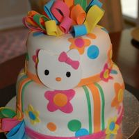 Hello Kitty Baby Shower Cake A two-tiered cake w/ Hello Kitty theme. Covered in fondant w/ fondant accents.