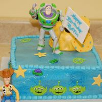 Buzz Lightyear Birthday Two-tiered cake for my son's 3rd birthday - Buzz themed. Thanks for all the inspiration from CC'ers on this one! There's a...