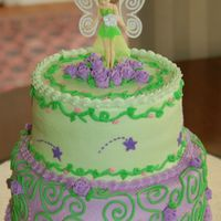 Tinkerbell Baby Shower A two-tiered baby shower cake w/ Tinkerbell theme. All buttercream w/ royal roses.