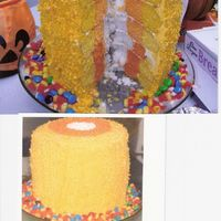 Texas Size Candy Corn Cake Upon cutting this cake, it looks like very large candy corn