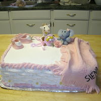 Baby Shower Cake   first time making animals. everything is foundant expect for cake its' butter cream.