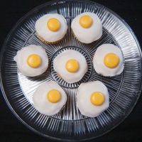 April Fools! I made these egg cupcakes for my church's children program. It was so much fun watching the kids expressions! :) The yolk and white...