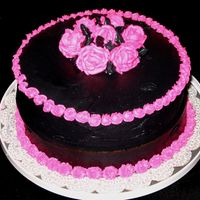 Gothic Cake My son wanted a cake for his friend, who loves gothic, black, and pink. It's a little unconventional, but it actually doesn't...