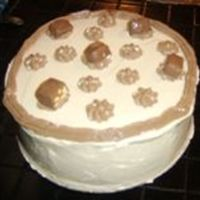 Round Snickers Cake chocolate cake with caramel marshmallow buttercream and chocolate marshmallow butercream mmm