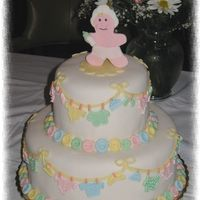 Baby Layette Cake 2-Tier cake covered in MMF with fondant decorations and trim. Border was a shell border with hand-made fondant buttons over the shell. All...