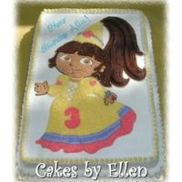 Princess Dora Princess Dora cake inspired by another member (can't remember who). Cake done on a 12x18 and image transferred via gel transfer (that...
