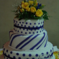 15Th Birthday   I made this cake for my niece the lines were purple but they turned out blue in the picture it was made with fondant
