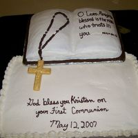 First Communion 1 layer book pan, 2-layer 12 x 18, white chocolate cross painted with gold sust.