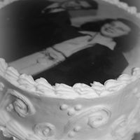 "Grandparents Anniversary This cake is 8"" double layer with pineapple custard filling & rice paper picture on top. They were so surprised...they had never..."