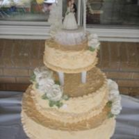 "Second Wedding Cake... This wedding cake was decorated with Bakemark the roses are also made with the whipped topping the color I used is Ivory it is a 8"" +..."