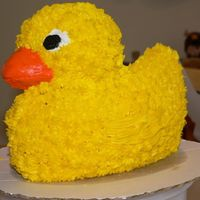 3D Rubber Ducky This was my first cake I did. It was for my friend's daughters 1st birthday. It was a rubber ducky theme.