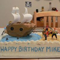 Pirate Ship Cake This is the second cake I've ever done. It was for my friend's son's birthday..pirate theme. I'm thankful it came out...