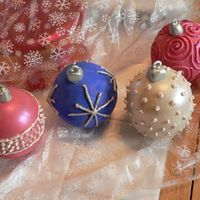 Chocolate Christmas Ornaments My 1st attempt at this. Hollow Christmas ornaments made from white chocolate, decorated with royal icing and luster dust. The inside is...