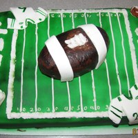 Jets Jets cake for playoff game:) Simple 1/4 sheet chocolate with choc buttercreme and MMF. Football is rice crispies covered in MMF. All other...