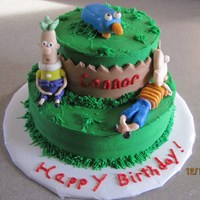 Phineas & Ferb Birthday Cake Marble cake with Vanilla buttercreme. Fondant figures. TFL!