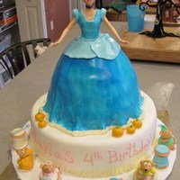 Cinderella Cinderella cake for a 4 year olds birthday party.. Vanilla cake with pink buttercreme icing. All fondant accents and mice:) TFL