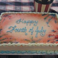 Fireworks Cake  This was a simple sheet cake with the batter tinted red, white, and blue on the inside. It was for a gathering. The fireworks are the...