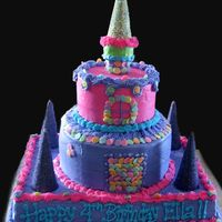 Princess Castle My daughter requested the design, colors, and decoration, and helped with most of it. This is my second stacked cake. I kind of wish I...
