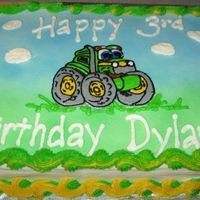 John Deere Cake   John Deere cake with buttercream frosting. I used the Wilton spray to airbrush--I am too cheap to buy the airbrush system.