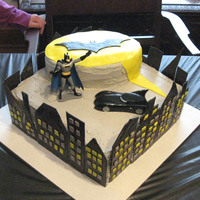 Batman Cake   I made this for my son's 5th birthday. Made the buildings out of fondant.