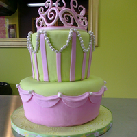 Princess Cake   Crown is made from gumpaste....it was my first attempt! Fondant covered cakes.