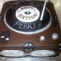Record Player Record player for my uncles 50th birthday, all fondent covered vanilla sponge
