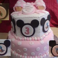 Minnie Mouse Theme Wanted to do a mickey mouse clubhouse theme for my daughters 3rd birthday but wanted girly colours so went with minnie! All fondent with...