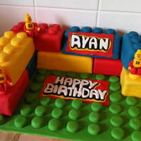 Lego Cake Lego cake made for a neighbour, all jam and buttercream filled sponge blocks covered in fondant with fondant lego men.