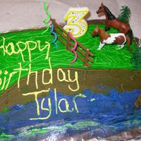 Horses For 3rd bday - BC funfetti cake with buttercreme icing and plastic figures.