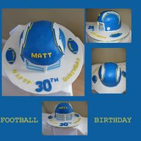 Football Birthday This was my first attempt at making a 3D football helmet.I would like to thank KittisKakes for all her help and advice....only if my cake...