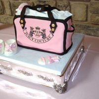 Juicy Couture Diaper Bag Baby Shower Cake Juicy Couture Diaper Bag Baby Shower Cake, all fondant with White & pink chocolate booties and rattles.