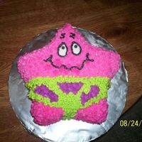 Patrick Star Staring At The Sun! I made this cake for my friends son who turned 4. It is from the episode that has Patrick staring at the sun and his eyes start sinking in...