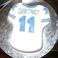 Shortnacy's Cake Birthday cake for an 11 year old boy. He wanted a Dallas Cowboy's jersey cake. White cake covered in fondant with fondant decorations...