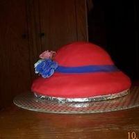Red Hat Society This was my first hat cake. Alot of fun to do! I used the vannila carmel creamer for the cake. It's covered in fondant and the roses...